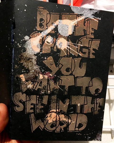 Mixed media screen printed journal (be the change)