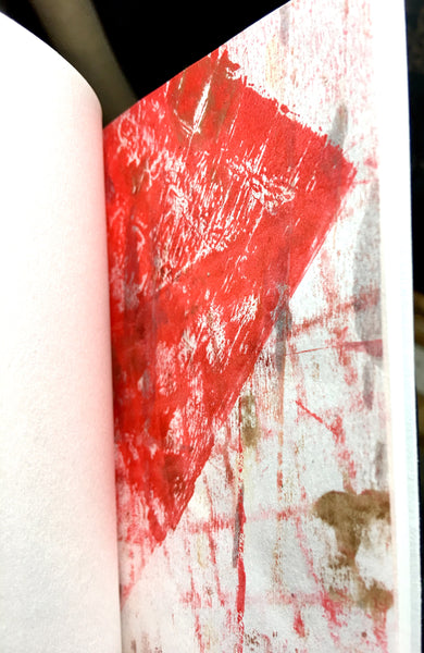 Screen printed sketchbook with mono print and hand made paper.