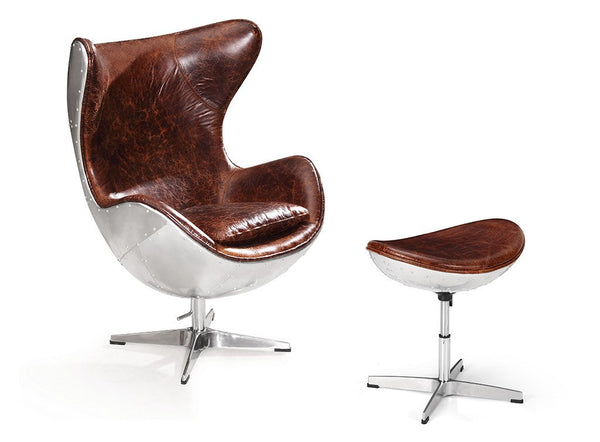 Aviator Egg Chair with Ottoman - Kent & Ross