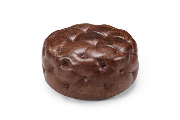 Medium Tufted Leather Ottoman - Kent & Ross