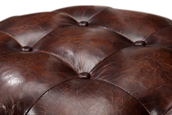 Small Tufted Leather Ottoman - Kent & Ross