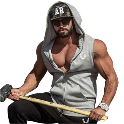 Mens Cotton Hoodie Sweatshirts Fitness Clothes