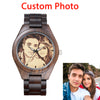 Image of Personalized Customized Photo Ptinting Natural Ebony Wooden Watch Private Label LOGO Design Bamboo Quartz Men Watches For Gift