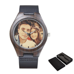 Personalized Customized Photo Ptinting Natural Ebony Wooden Watch Private Label LOGO Design Bamboo Quartz Men Watches For Gift