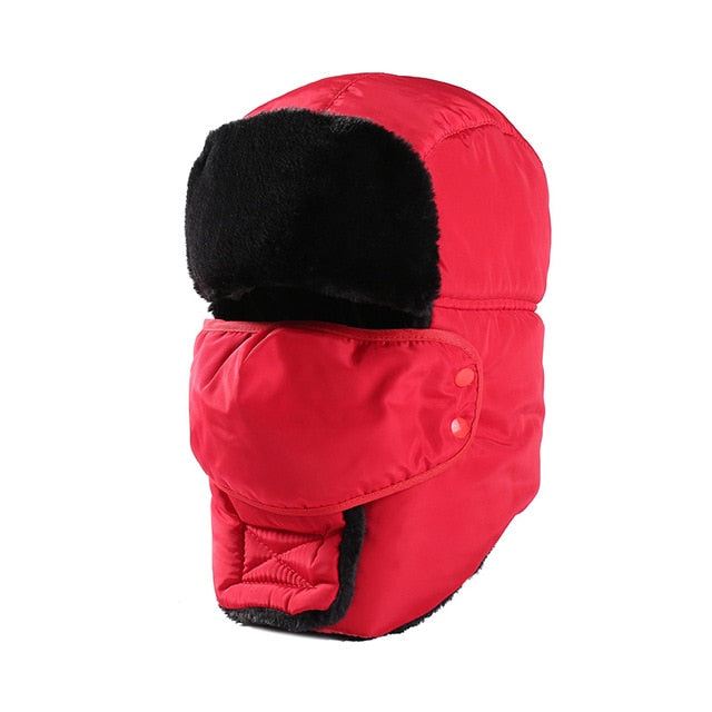 Warm Trapper Hat Earflap Bomber Hats Caps Winter Snow Ski Hat with Scarves for Men Women Russian Trapper Caps 55-58cm