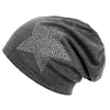 Image of Unisex Men Women Classic Star Rhinestone Slouch Beanie Cap Cotton Hat