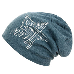 Unisex Men Women Classic Star Rhinestone Slouch Beanie Cap Cotton Hat