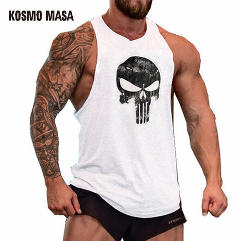Skull Bodybuilding Fitness Stringer Men Tank Top