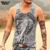 Image of Mens Sleeveless Gasp Hip Hop Vest Elephant Print Top