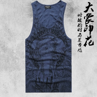 Mens Sleeveless Gasp Hip Hop Vest Elephant Print Top