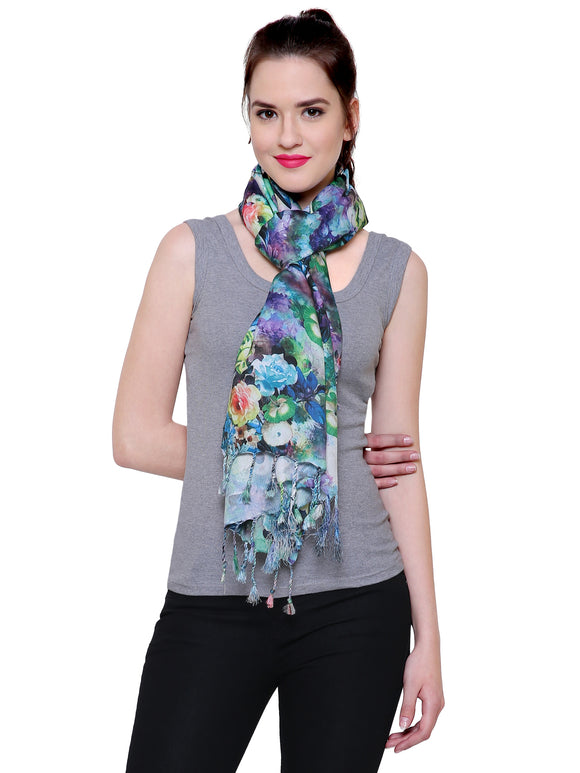 Fayon Gorgeous Garden Roses Printed Soft Pashmina Shawls, Scarves, Stoles, Wraps For Women & Girls