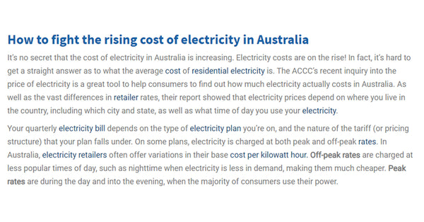 Electricity Bill Plans Should Be Similar to Australia Electricity Policy