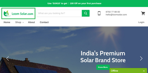 Open Loom Solar's homepage.