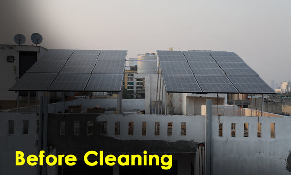 solar panel before cleaning