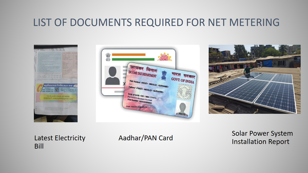 list of documents required for net metering