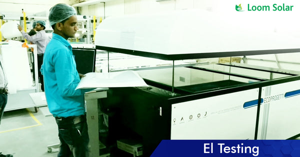 Solar EL Testing process in manufacturing plant
