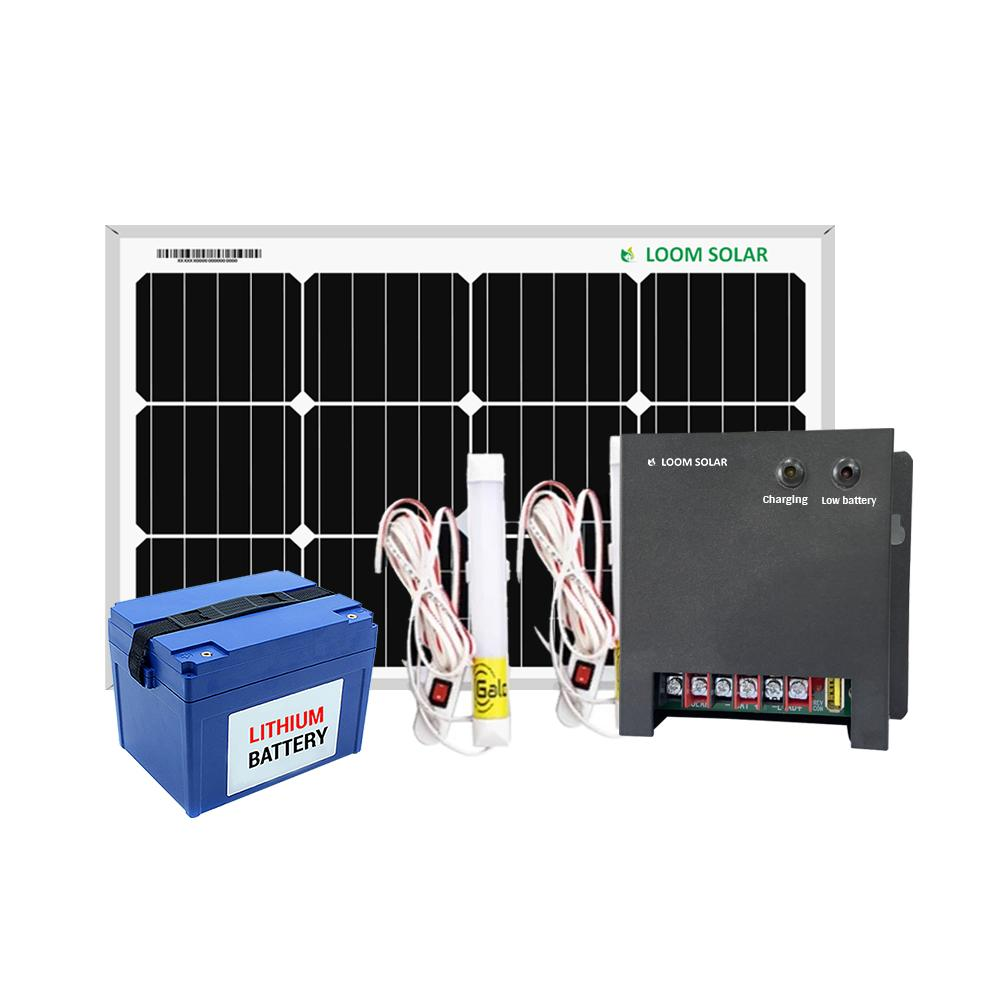 Loom Solar 50 watt off grid solar system for mobile charging, lighting for villages