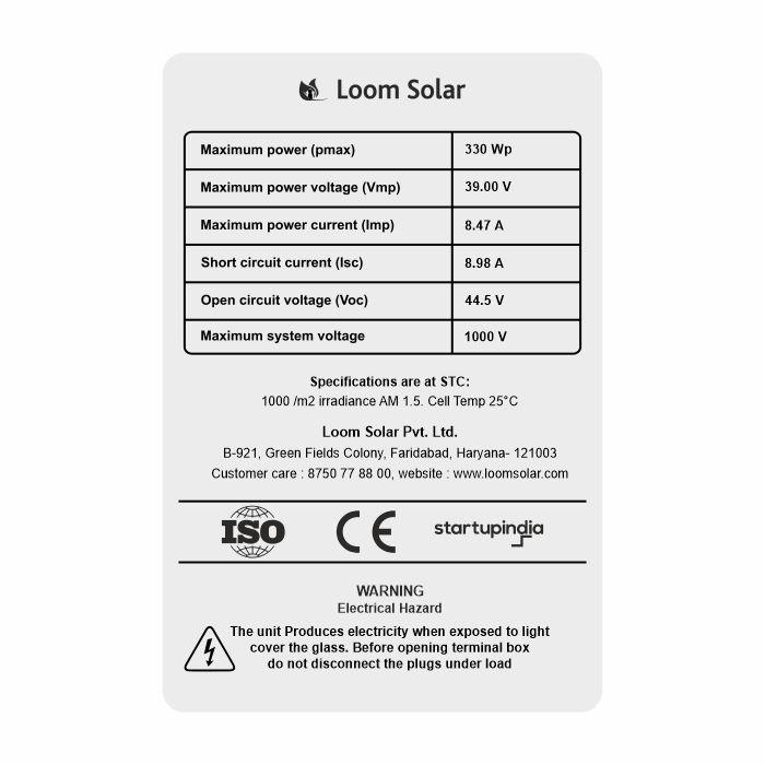 Loom solar panel 330 watt - 24 volt multi crystalline (pack of 2)