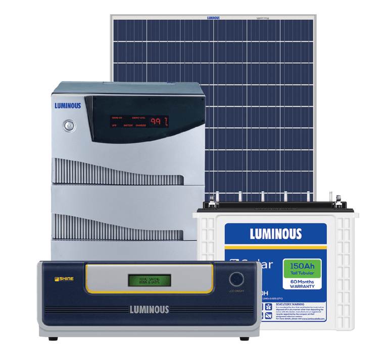 Luminous 5 kVA off grid cruze solar system for big homes, offices, factories - Loom Solar