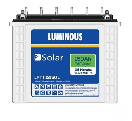 Luminous Solar 150 Ah Tall Tubular Battery - 3 years - Loom Solar