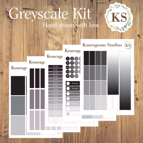 Greyscale Weekly Sticker Kit