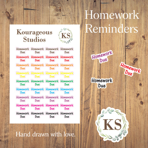 Homework Reminder Stickers
