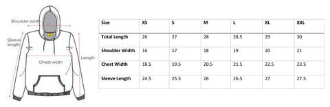 Dessiner Store Hoodie Size Chart