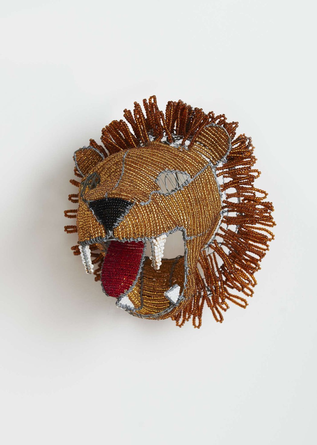This is a shop, mask, lion, unique, interior, africa, beads, wall, handmade