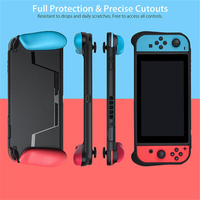 Nintendo Switch Protection Set - Soft Case With Handle Grip And Integrated Game Card Slot, Anti-Shock Cover Caps And Tempered Glass Screen
