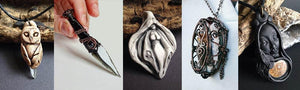 Figure of owl, and a goddess made of clay, wire athame and wire goddess locket