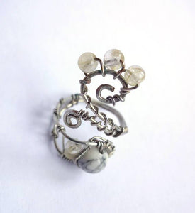 Adjustable Wire Ring with Howlite and Rutile