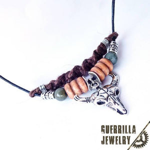 Bull Skull Necklace with Jade