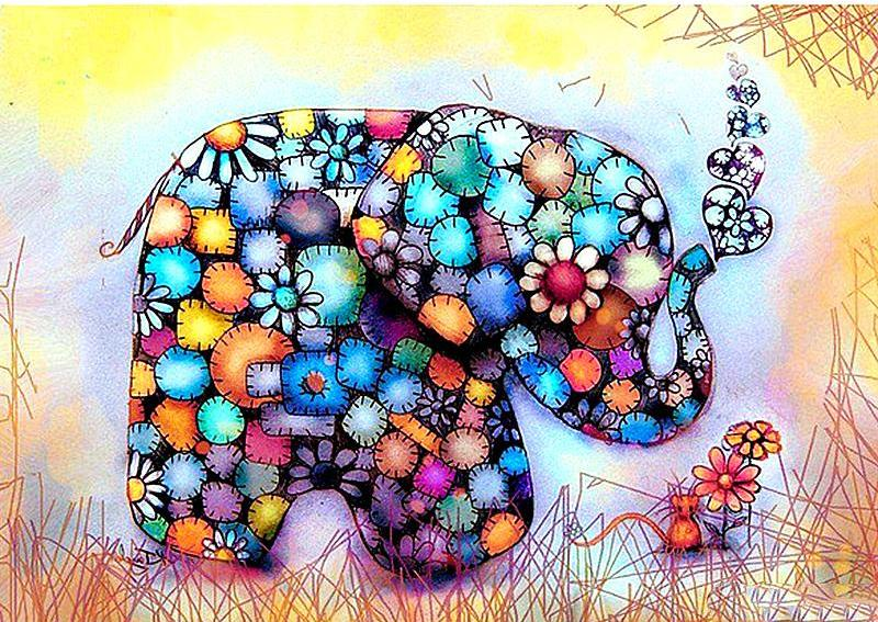 Colorful  Elephant 5D Diamond Painting