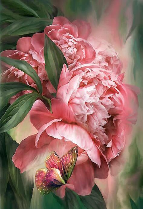 Find The Pink Butterfly In The Flowers 5D Diamond Painting