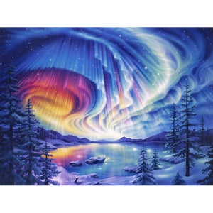 Northern Lights in Winter - 5D Diamond Painting Kit