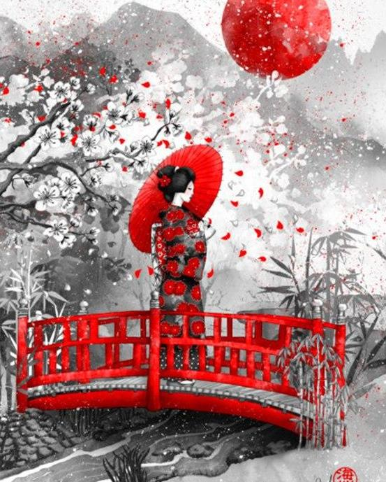 Woman On Red Bridge - 5D Diamond Painting Kit