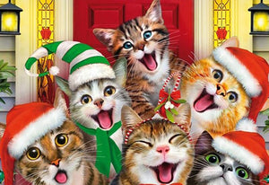Christmas Fun Cats - 5D Diamond Painting Kit
