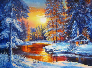 Sunset By The River - 5D Diamond Painting Kit