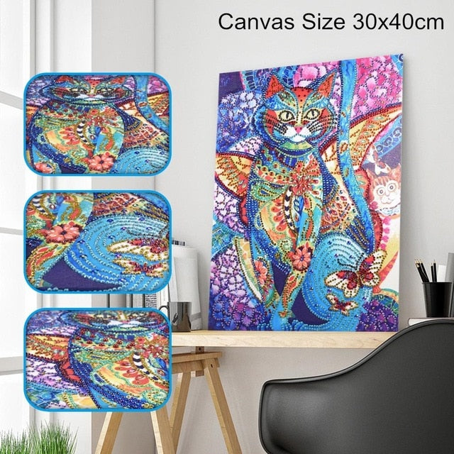Butterfly Cat - Special Shaped 5D Diamond Painting Kit
