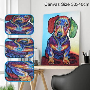Colourful Dog - Special Shaped 5D Diamond Painting Kit