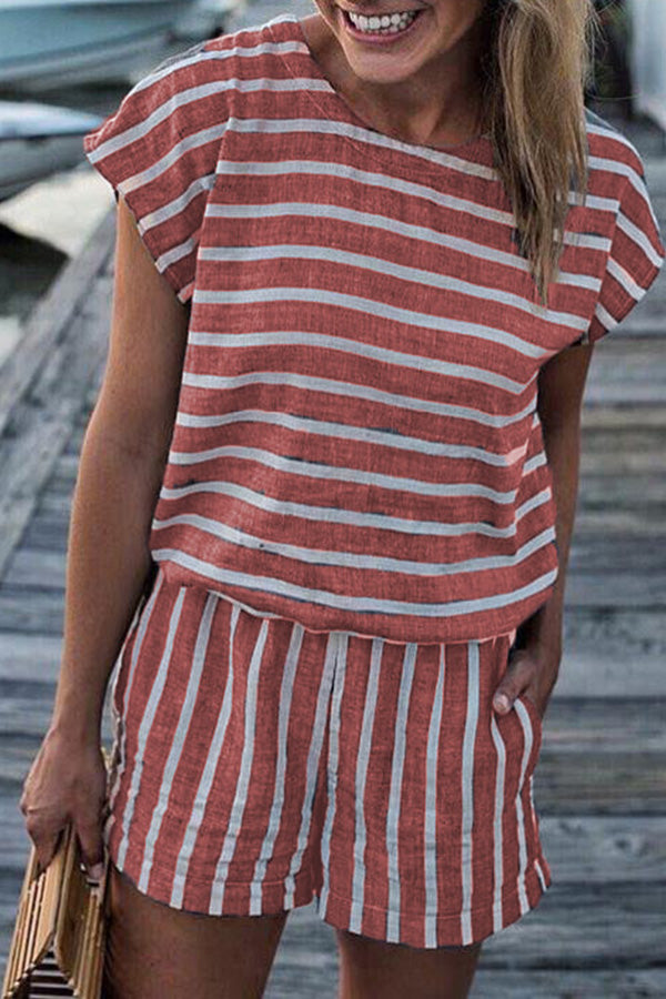 Stripe Print Round Neck Short Sleeve Romper