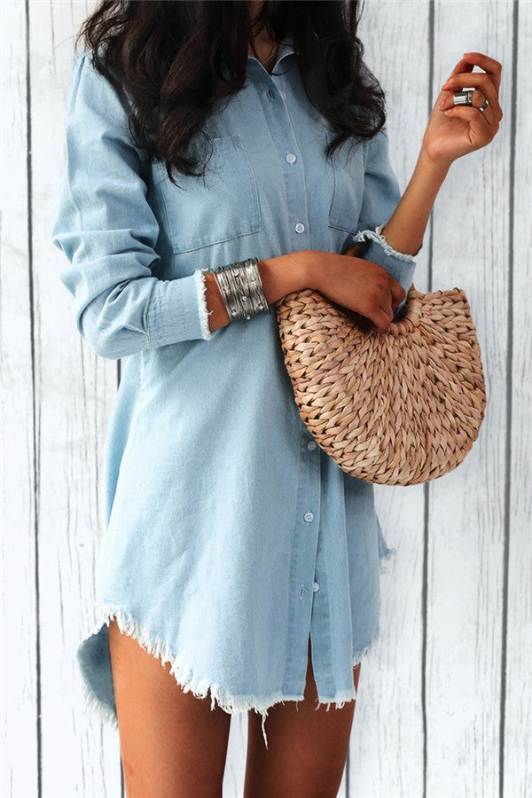 Button Up Long Sleeve Denim Mini Dress