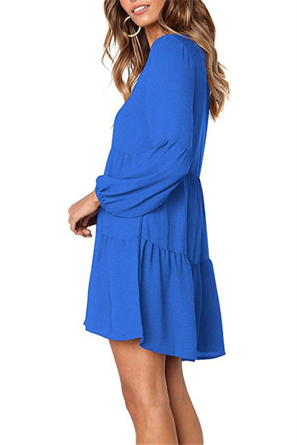 V Neck Long Sleeve Solid Color Casual Dress