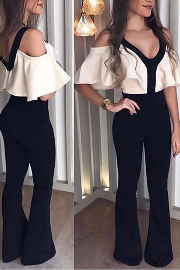 Ruffle Sleeve Mixed Color V Neck Jumpsuit