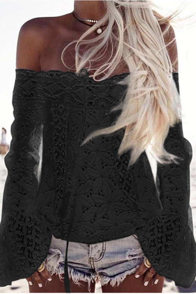 Lace Trumpet Sleeve Off the Shoulder Solid Color Cover Up