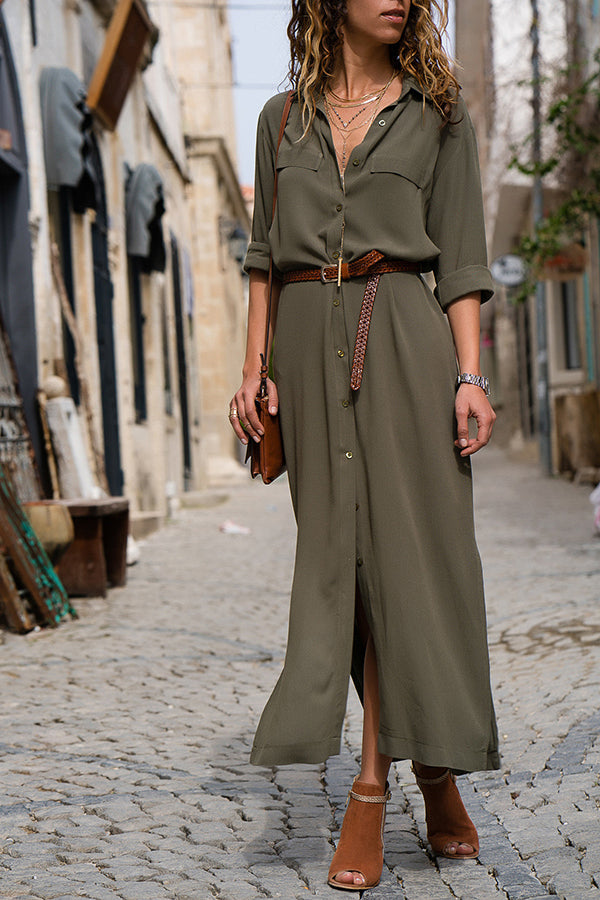 Three Quarter Sleeve Pocket Button Belted Shirt Dress