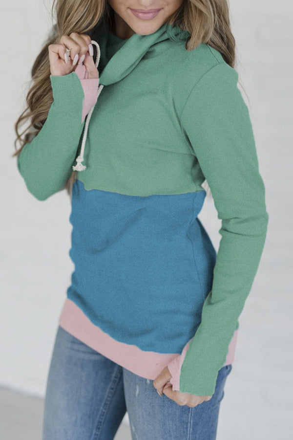 Splice Color Cowl Neck Bandage Casual Hoodie