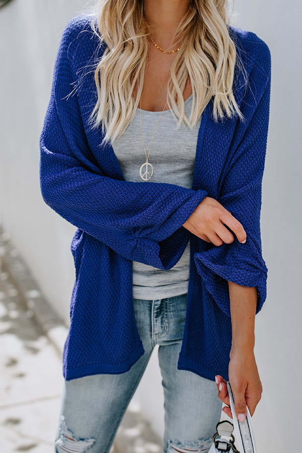 Flare Sleeve Solid Color Contracted Style Knit Cardigan