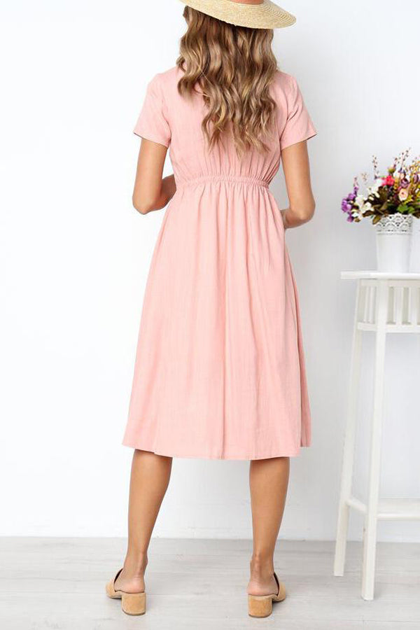 V-Neck Pocket Button Solid Color Midi Dress