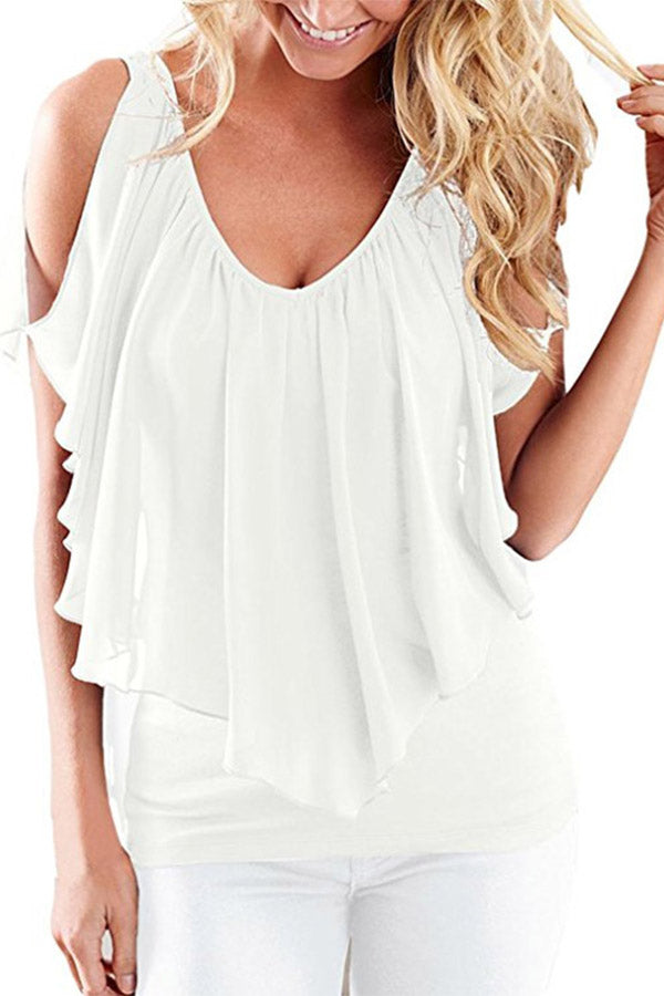 Solid Color Sleeveless V Neck Chiffon Top